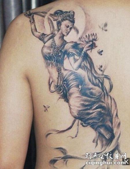 神话仙女背部纹身