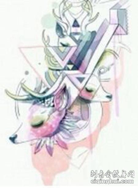 个性艺术小鹿纹身素材