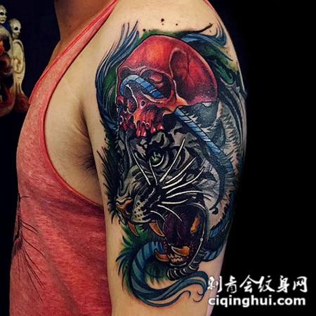 兽王咆哮,大臂白虎彩绘纹身