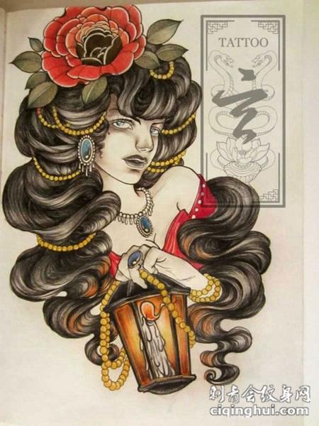 炫彩美女头像纹身素材