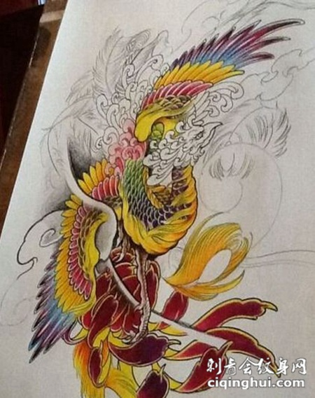 唯美艺术凤凰纹身手稿