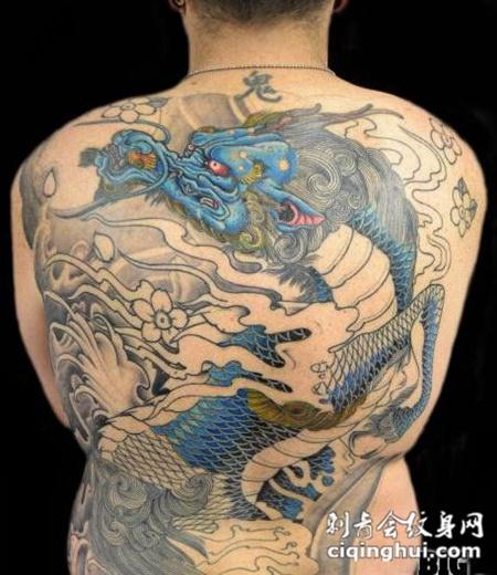 神兽麒麟满背纹身图案大全