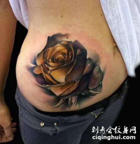 爱情玫瑰腰部纹身