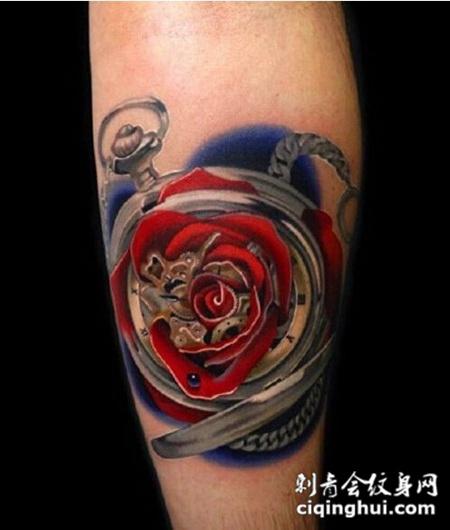 腿部唯美玫瑰花朵纹身