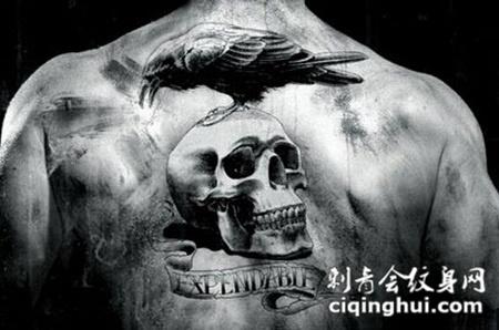 复古黑白骷髅纹身