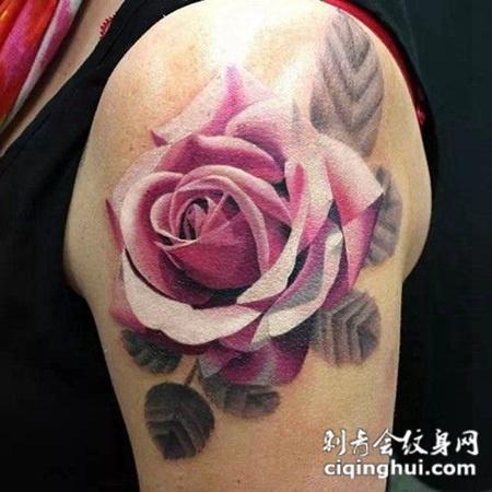 梦幻唯美的玫瑰艺术纹身