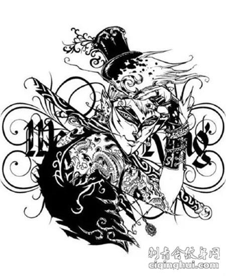 霸气无双的孙悟空纹身图案手稿图片