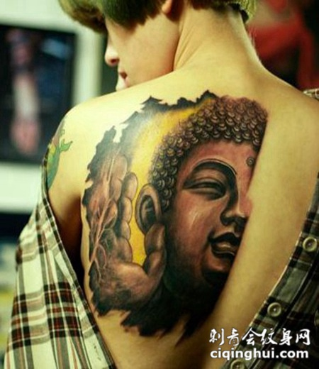 背部经典佛门神话纹身