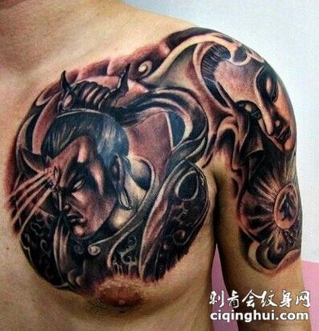 男生肩部潮流半甲二郎神纹身图案