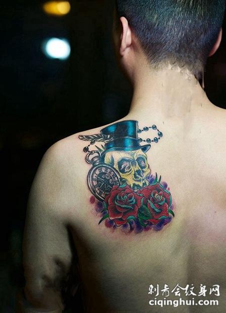 酷黑恐怖骷髅纹身