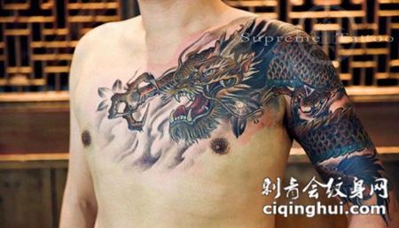 男人肩部霸气龙纹身图案