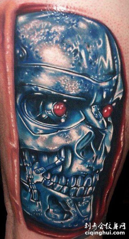 逼真3d视觉骷髅纹身