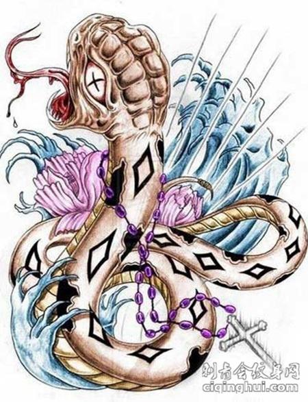 前卫时尚school风格蛇纹身手稿