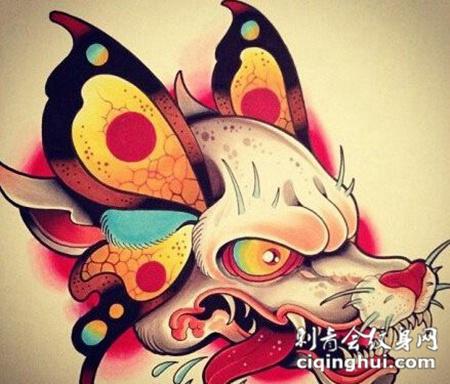 个性时尚的狼头纹身手稿素材