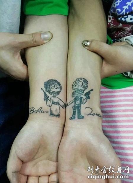 超可爱个性情侣小骷髅纹身图案