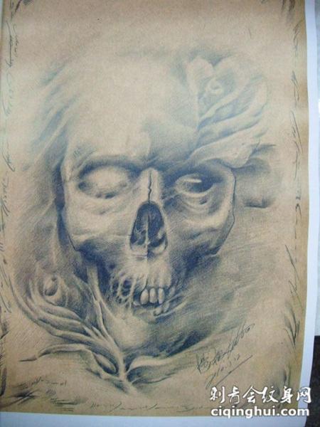 骷髅头纹身手稿素材