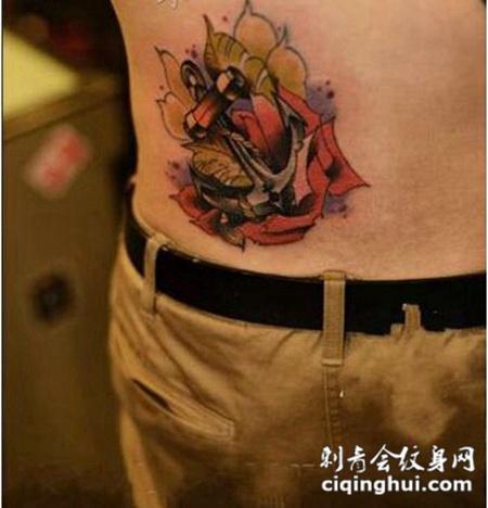 玫瑰信物腰部纹身