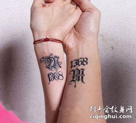情侣手臂特别意义纹身图片