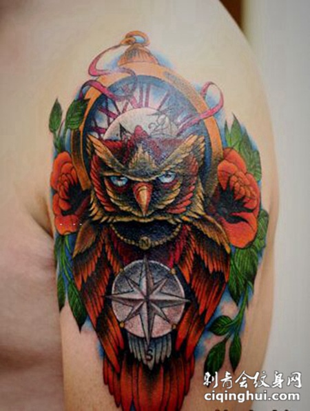 school猫头鹰手臂纹身图案