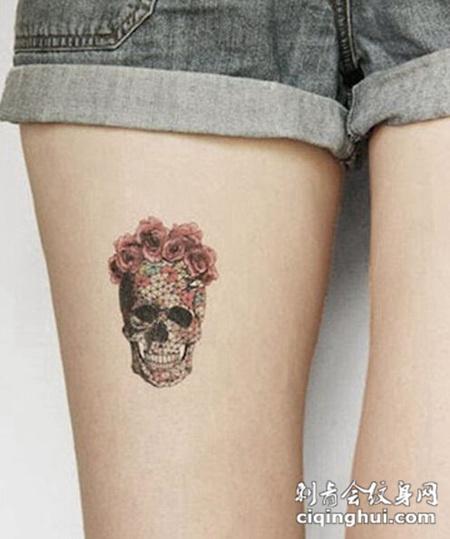 美女腿部性感骷髅头纹身图案