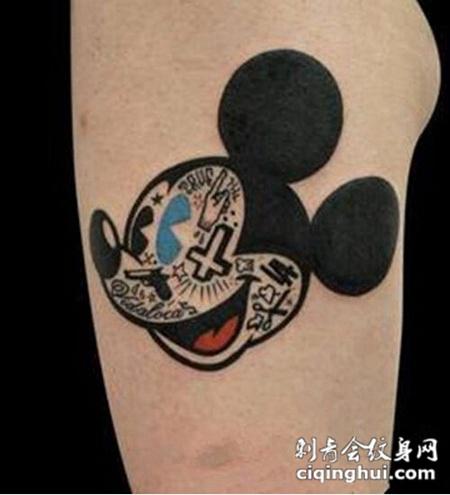 手臂可爱动物头像纹身