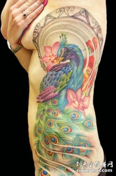 炫彩艺术侧腰纹身图案