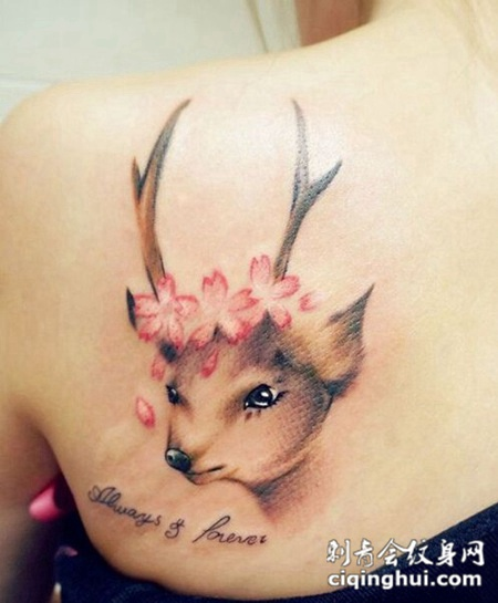 美女后肩可爱动物头像纹身