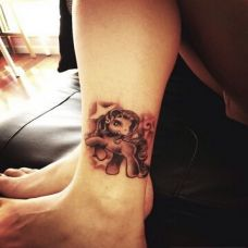 创意动物脚部纹身