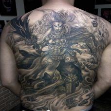 男生满背霸气黑色二郎神纹身图片