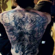 男性满背死神纹身图案
