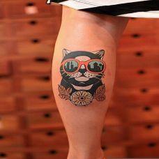 色彩猫咪脚部纹身