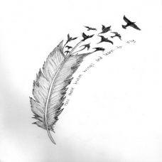 朦胧唯美的羽毛纹身刺青