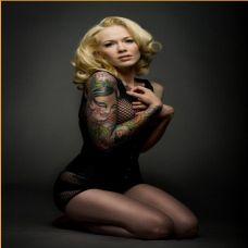 外国美女手臂人物头像彩绘纹身图案