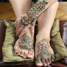 花之缠绕 脚部花纹彩绘刺青