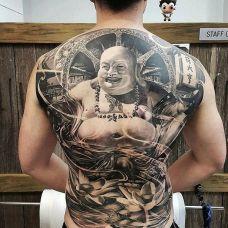 普度众生,满背写实风格弥勒佛纹身图案