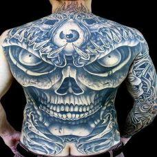 酷炫骷髅满背纹身图案