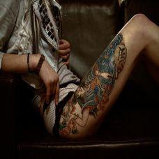 美女大腿古代人物纹身彩绘图案