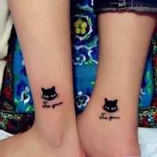 优雅猫咪情侣纹身