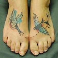脚背可爱的动物纹身图案