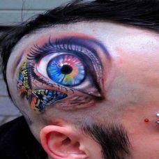 个性帅哥头部恐怖眼睛彩色纹身图案