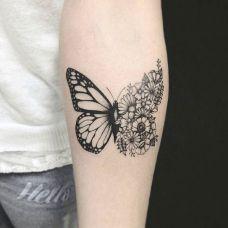 迷恋花间,手臂小清新蝴蝶纹身图案