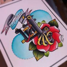 艾丽克斯少女school纹身手稿