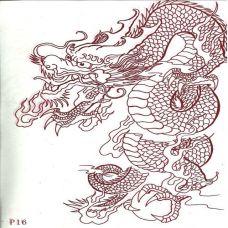 红色线稿龙纹身素材