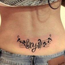 腰部音乐五线谱纹身图案