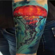 彩色水母纹身图案