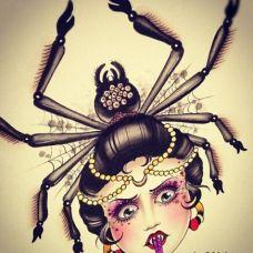 恐怖蜘蛛精纹身素材
