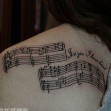 优美文艺音符纹身