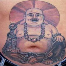 大肚男腹部弥勒佛纹身图片