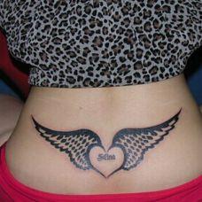 图腾天之翼腰部刺青纹身