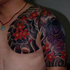 肩部半甲般若纹身图案